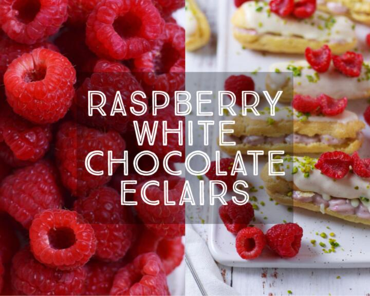 Sweet, light and dangerously addictive, Raspberry White Chocolate Eclairs with fresh raspberries, pastry cream and white chocolate are the perfect bake for your next party or afternoon tea.