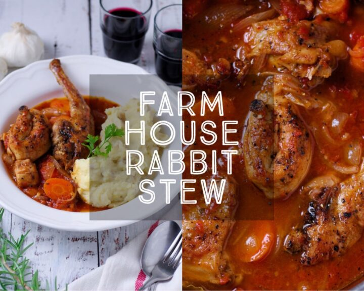 Country-style Farmhouse Rabbit Stew is a rich and warming casserole filled with classic flavours. If you like, ask your butcher to joint the rabbit for you.