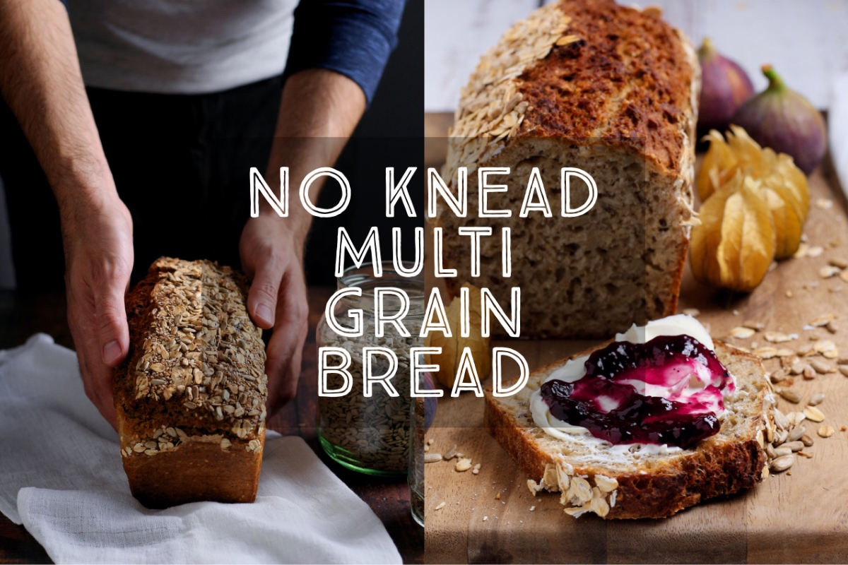 No Knead Multigrain Bread has to be the world's easiest loaf. No kneading, no rising time, just mix the ingredients and bake in the oven until done. Full of healthy seeds and grains, this bread is delicious toasted and keeps well for several days.
