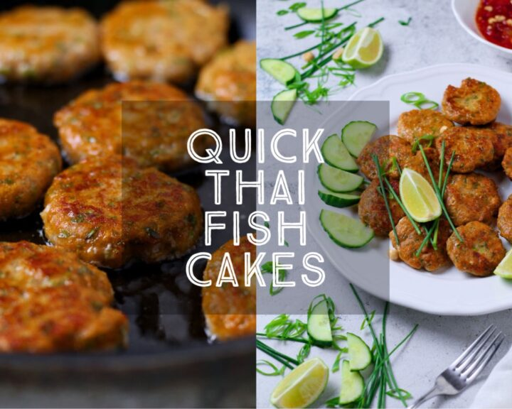 Perfect for finger food or parties, Quick Thai Fish Cakes are packed with flavour and super quick to make. Served with a spicy, crunchy dipping sauce, these delicious morsels always disappear in a flash!