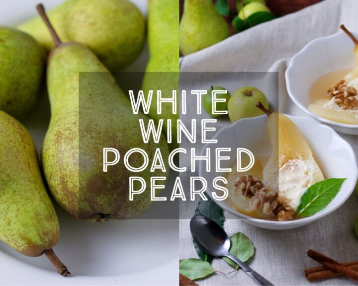Tender and sweet, White Wine Poached Pears filled with creamy mascarpone are a light and fragrant dinner party classic dessert.